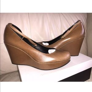 Leather Platform Wedge,Ankle Strap Shoes, Brown